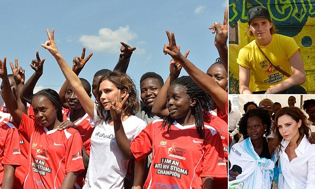 Victoria Beckham and son Brooklyn join forces for UNAIDS charity mission in Kenya
