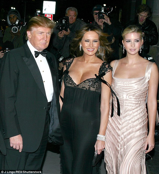 'I mean she really has become a monster — in all the right places,' Trump told Stern in September 2005. He is pictured with her and daughter Ivanka the following month