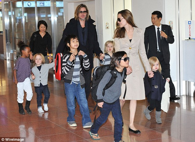 Jolie filed for divorce shortly after the incident, seekingsole physical custody of the couple's six children (pictured back in 2008)