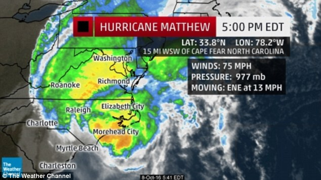 Hurricane Matthew marched further up the east coast on Saturday afternoon, brushing past North Carolina after battering Florida, Georgia and South Carolina since Friday