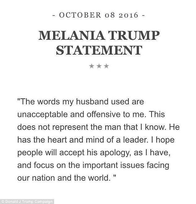 Melania Trump has called her husband's lewd remarks in the video 'unacceptable and offensive' in a statement she released Saturday