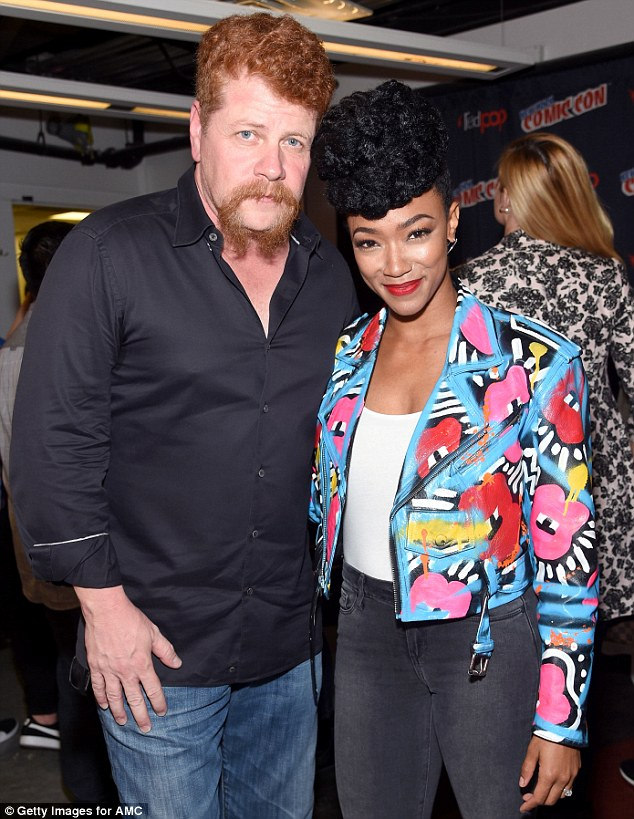 More on hand: Cast members Michael Cudlitz, 51, and Sonequa Martin, 31, pose at the buzzing event
