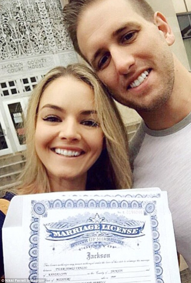 All smiles: Nikki Ferrell of The Bachelor tied the knot with fiance Tyler Vanloo on Saturday afternoon in Kansas City