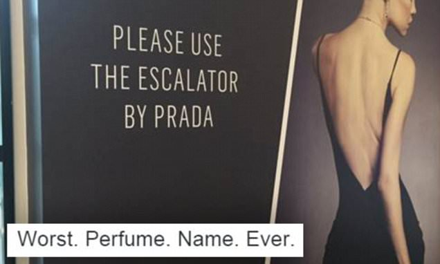 Hilarious photo of a sign pointing shoppers to an escalator next to Prada is mocked on