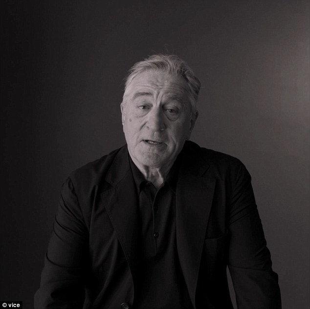 In the clip, De Niro was asked a question that all participants were asked: 'What do you care about?' He then launched into a rant calling Trump a 'dog' and a 'con'