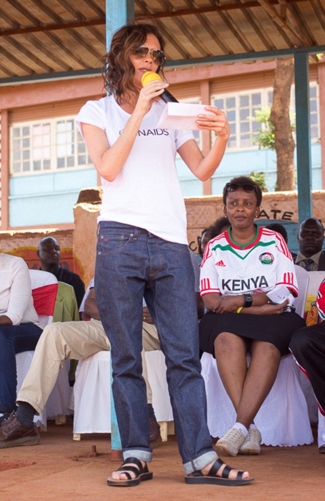 Making a difference: This was the second trip to Africa for Victoria after she was appointed UNAIDS Goodwill Ambassador in 2014