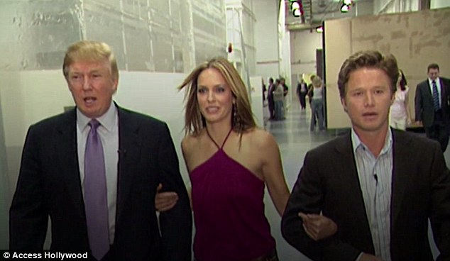 On Friday, it was revealed that Bush (right) was with Donald Trump (left) in 2005 on the set of Access Hollywood when the Republican nominee was heard bragging about his power over women, while he also detailed how he tried to seduce O'Dell, who was married