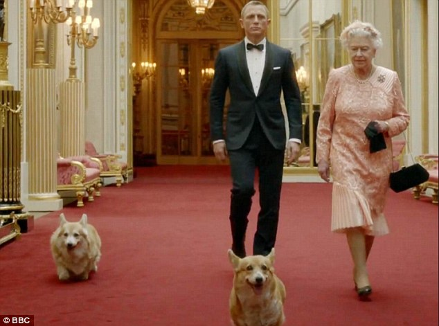 In her first acting role, the Queen was seen to leave Buckingham Palace with Bond, played by Daniel Craig, and clambered aboard a helicopter, leaving behind her corgis Monty, Willow and Holly