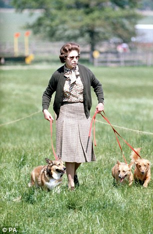 The Queen with some of her Corgis walking the Cross Country course during the second day of the Windsor Horse Trials