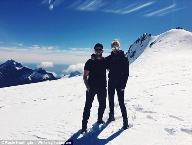 Spending time: Jason Statham brought fianceeRosie Huntington-Whiteley to New Zealand with him, where he's currently filming the shark movie Meg