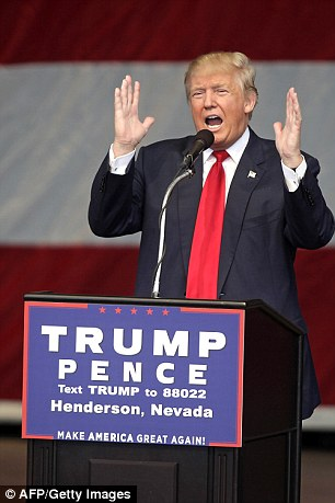 Donald Trump pictured at a campaign rally in Nevada on October 5