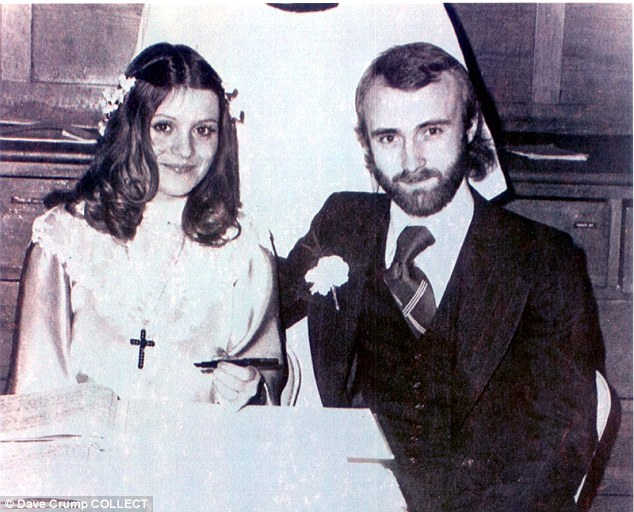Phil Collins, pop star, and Andrea Bertorelli on their wedding day in 1975. They divorced five years later