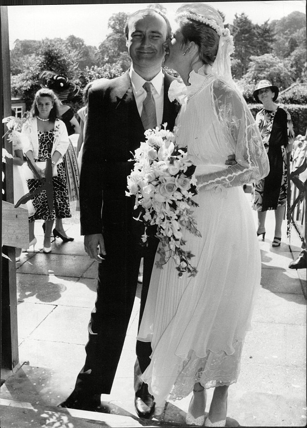 Phil Collins with his next wife Jill Tavelman on their wedding day in 1984