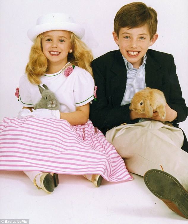 JonBenet (left) was found beaten and strangled on the floor of the family's cellar several hours after 911 was called but Burke (right) and their parents always denied being involved