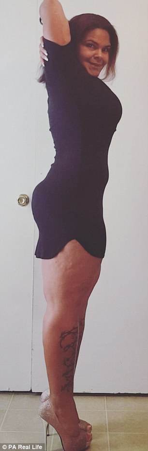 Now weighing 196 pounds (14 stone), she is just 8lb away from her goal weight