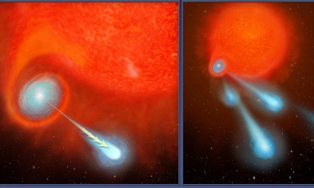 Hubble spots burning plasma balls TWICE the size of Mars shooting out of a dying star