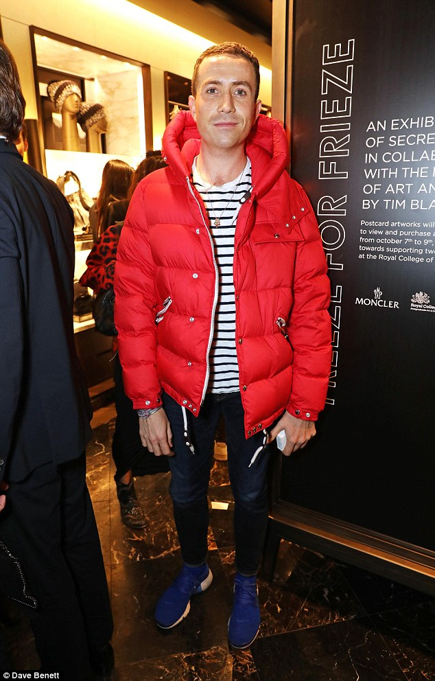 Ready for winter: Nick Grimshaw certainly stood out from the crowd in a garish padded jacket
