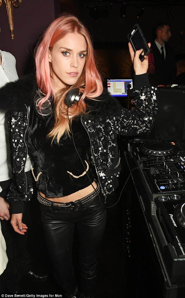 On the decks: Mary Charteris was the event's DJ, playing the tracks in leather trousers and a velvet top