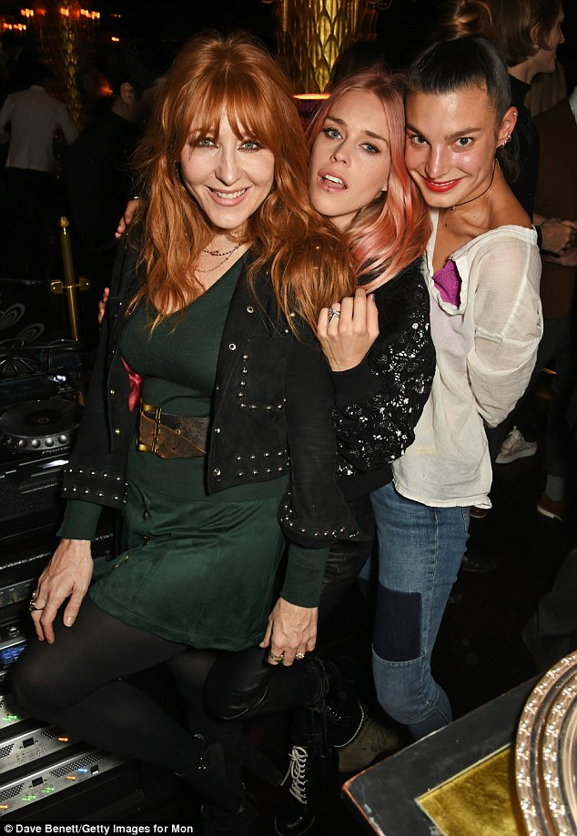 Girls just wanna have fun! Makeup artist Charlotte Tilbury (L) enjoyed a boogie behind the decks with DJ Mary in a green mini dress