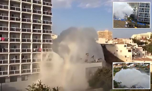 Geyser that erupted next to Benalmadena hotel in Spain and caused a 'mini tsunami'
