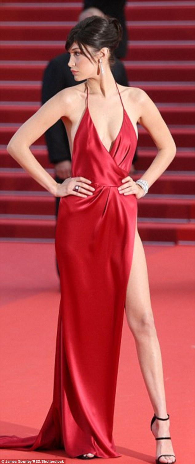 Stunning: Model Bella Hadid, 19, wowed when she wore this high-cut dress to the Cannes Film Festival in May