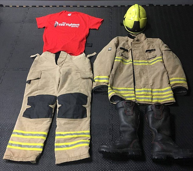 Full kit: Kevin, from Cardiff, wore his full firefighting kit in order to raise money for charity