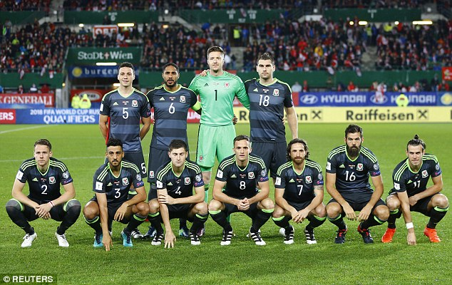 Wales, pictured ahead of their match with Austria, have gained a reputation for taking football's worst team photographs