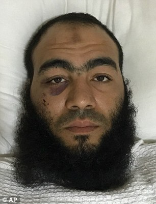 Ibrahim Sulaiman, 28, was hospitalized after the car he used to ram into a truck carrying US soldiers caught fire