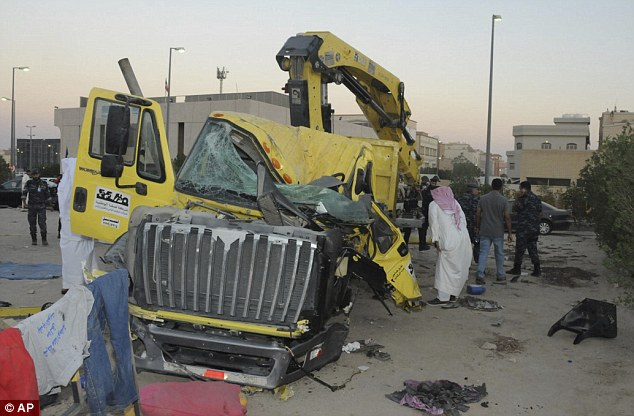 Kuwaiti authorities released this image of a damaged garbage truck after it rammed into another truck carrying five US soldiers in Kuwait