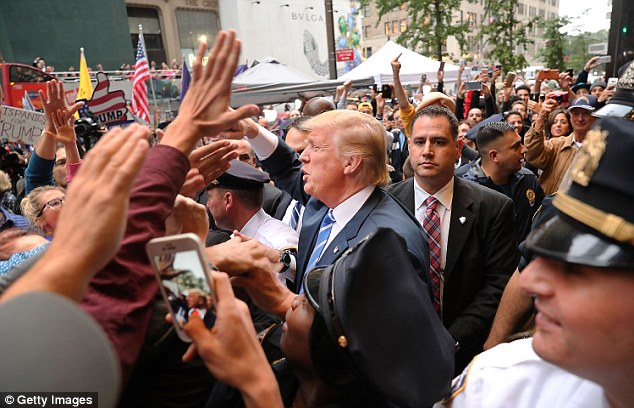 Trump spent most of Saturday inside Trump Tower, only coming out to greet supporters, as his campaign dealt with fallout from the tapes