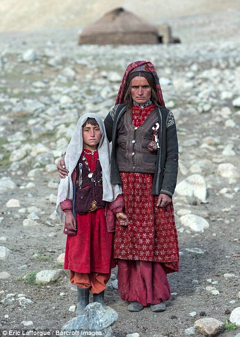 Portrait of a Wakhi nomad mother with her daughter