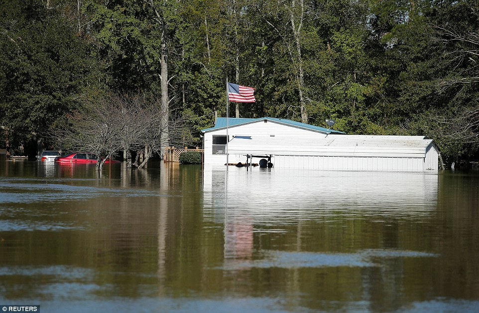 The extent of flooding in the state could be seen Sunday morning, such as in this picture of Lumberton