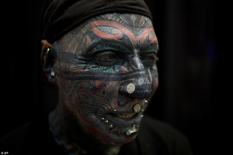 The German tattoo model, whose entire face is covered in inkings, including his eyeballs, has travelled from Germany to attend the third annual Israel Tattoo Convention