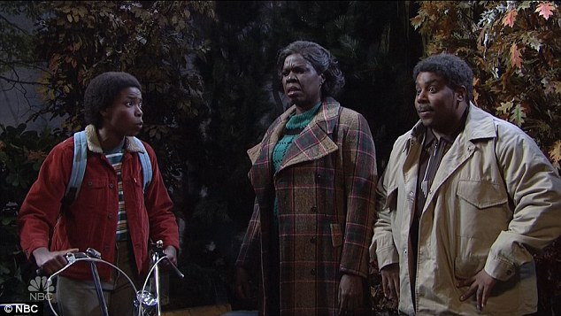 Freaked out: The rest of the cast were finally introduced the parents of Lucas, who urged him not to hang around with 'these white kids.'