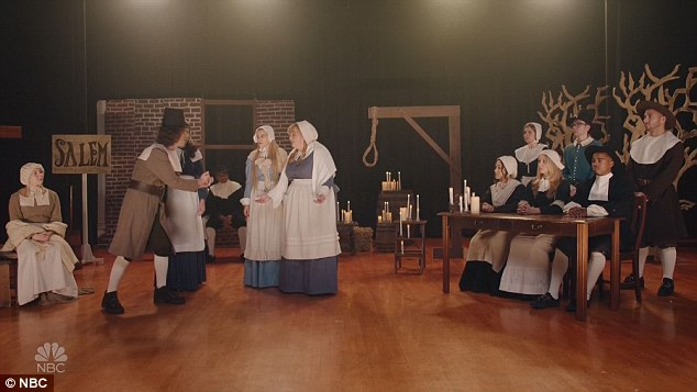 Nasty: The female cast members then played members of a high-school production of The Crucible, who wanted 'to get horny at the nastiest event in town' - the cast party.