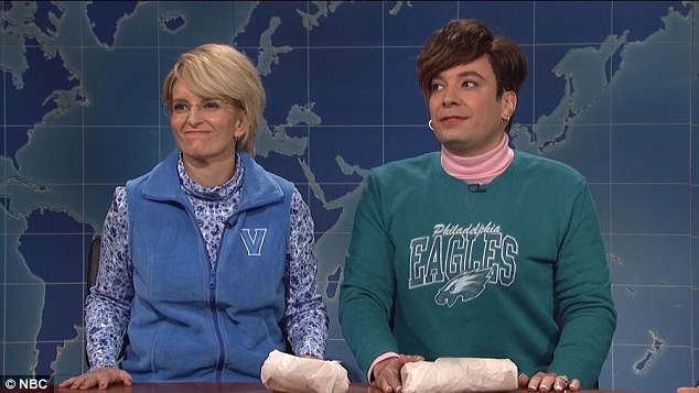 Swing state: Jimmy Fallon, in drag, and Tina Fey then made cameo appearances as undecided female voters from suburban Pennsylvania