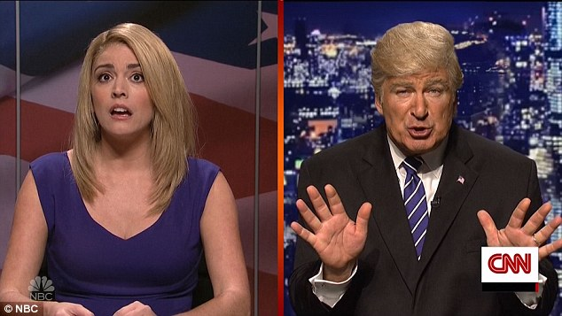 Yuge: They were interrupted with the breaking news of Trump's latest hot mic gaffe, with Alec Baldwin reprising the role to explain himself