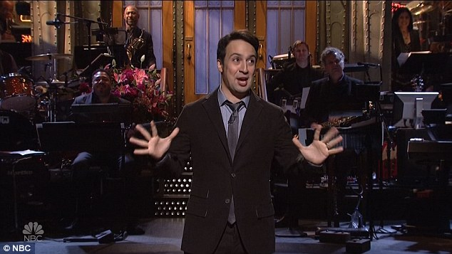 Genius: Earlier in the night, the Lin-Manuel opened the show spectacularly, calling Donald Trump as a 'piece of sh*t' as he performed a cutting Hamilton-style musical monologue