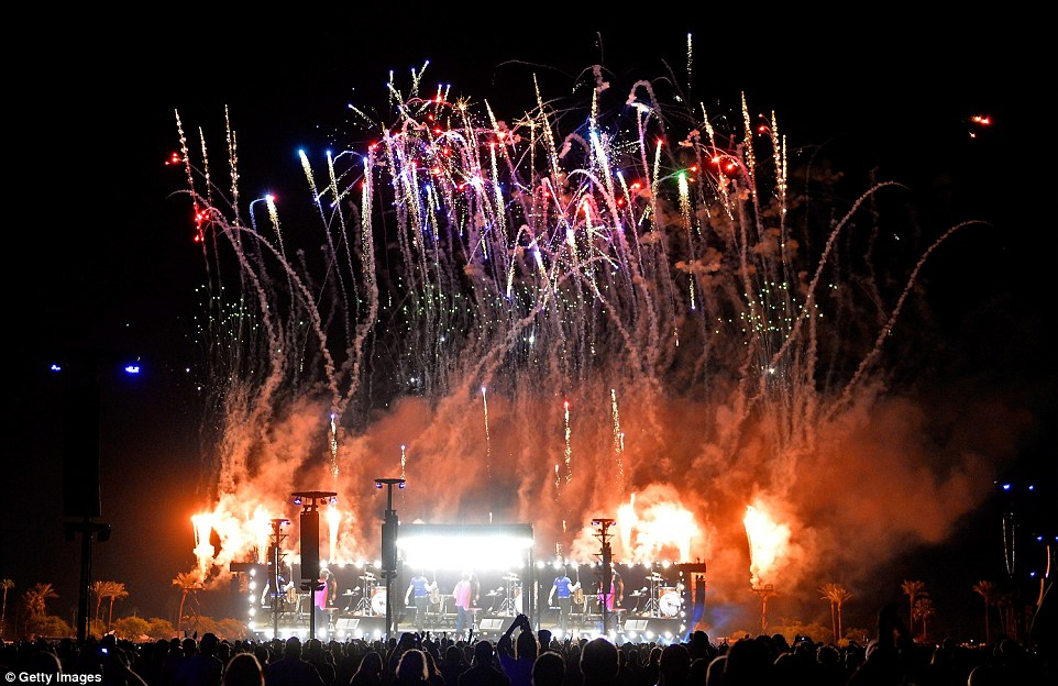 Bring me colour: A fireworks display set off the evening with a bang