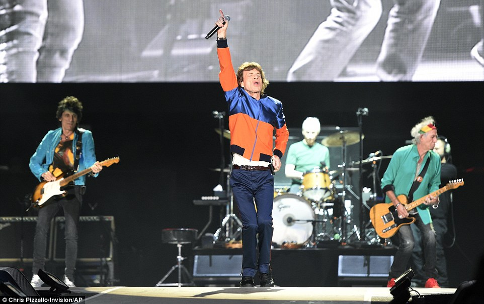Starting them up: McCartney and Young had a tough act to follow after The Rolling Stones performed at the music festival on Friday night