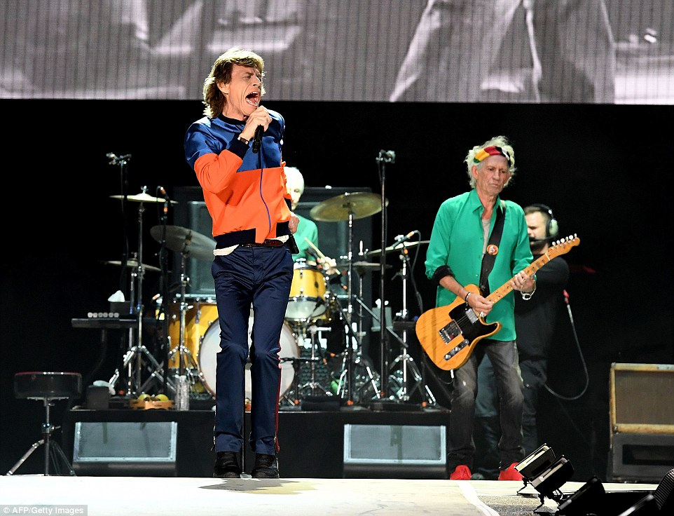Golden oldies: Mick Jagger and Keith Richards take to the stage to perform at the Desert Trip music festival in Indio, California on Friday night