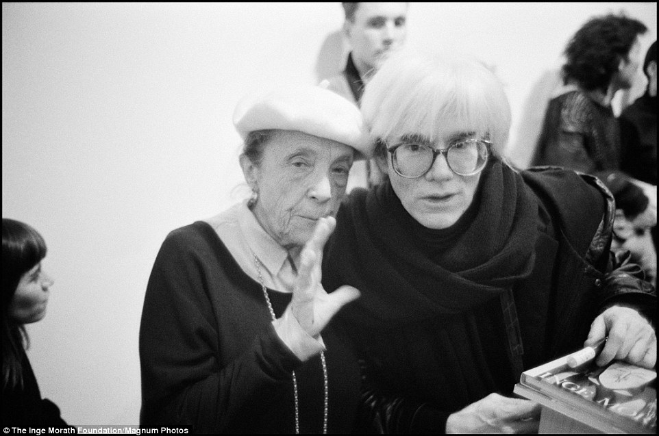 Her photographs are a window into the decadence of post-war America and some of its biggest stars, including Andy Warhol (who is pictured here with French-American artist Louise Bourgeois)