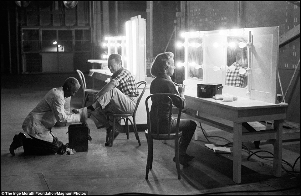 Morath captures 1950s actress Terry Moore, who starred in Mighty Joe Young, as she prepares on set in 1959
