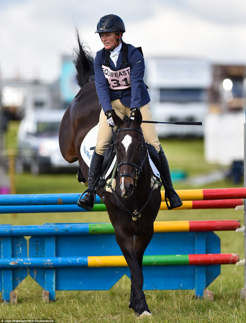 Zara, 35, was competing at Calmsden Horse Trials in Cirencester, Gloucestershire