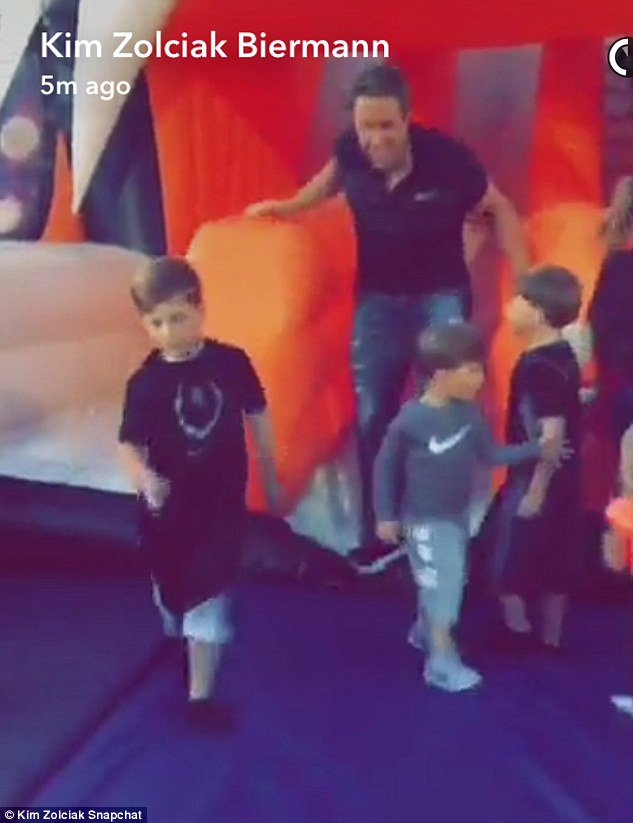 Fun: The 38-year-old chronicled their trip to the outdoor kid-friendly event on her Snapchat; sons KJ, Kane and Kash with husband Kroy