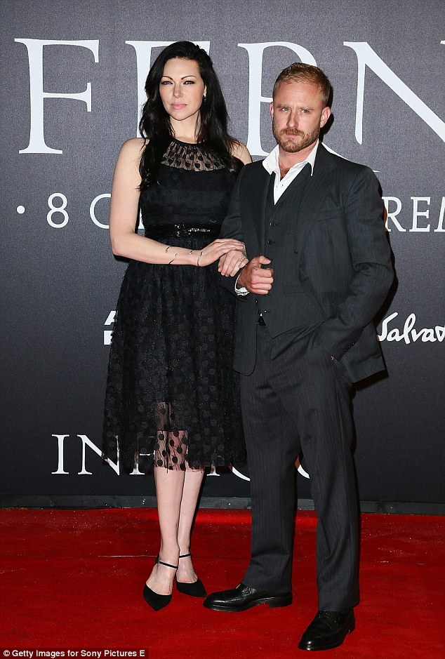Happy couple: Laura Prepon and her new fiancé Ben Foster once again walked the red carpet arm-in-arm, this time attending the Inferno premiere together in Florence on Saturday evening