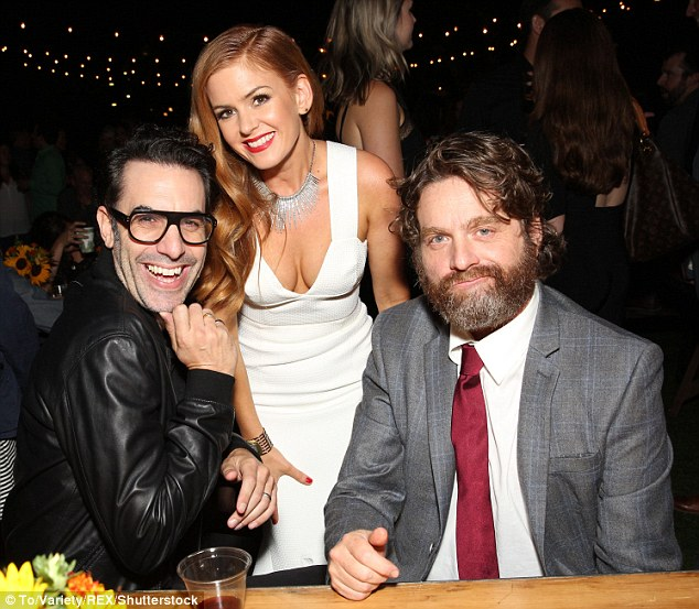 Good times! Isla's co-star Zach Galifianakis (R) also made an appearance alongside her husband Sacha Baron Cohen (L)