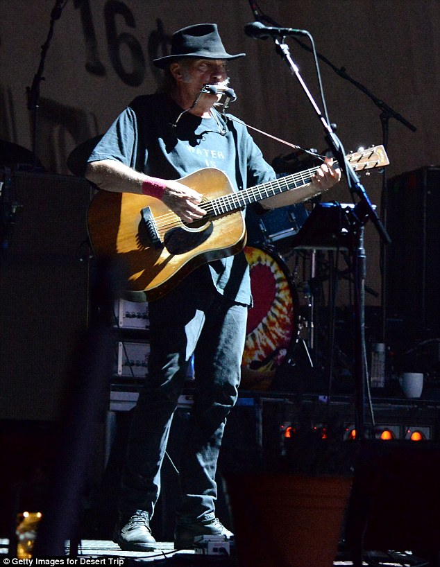 Heart of Gold: Neil Young, 70, showed he's still the legend he always was as he performed a set of songs at the first-ever Desert Trip music festival in Indio, California on Saturday