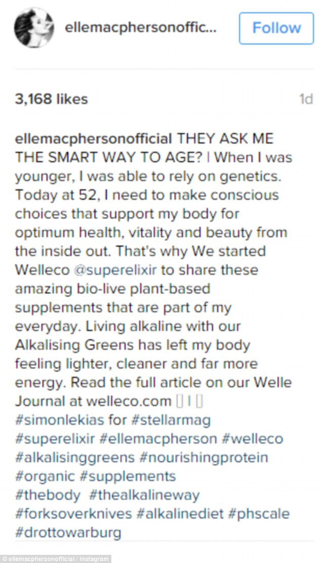 Aging secrets revealed? Elle hailed 'plant-based supplements' in a recent motivational post