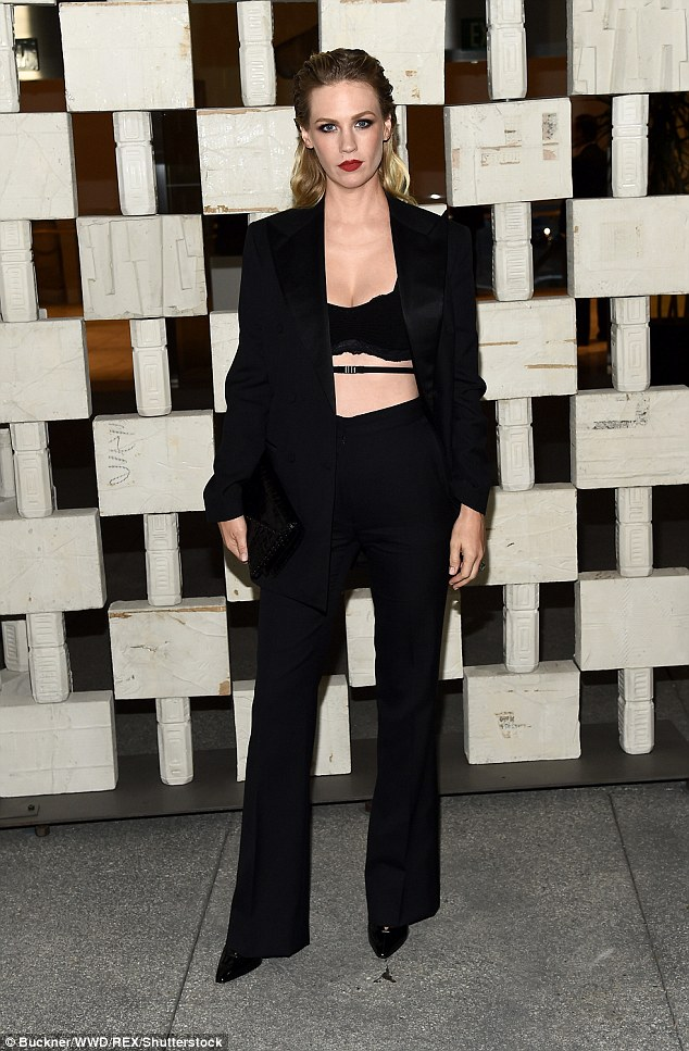 Keeping up the Jones! January showed off her bra is sexy open suit at the Hammer Museum's annual gala on Saturday night